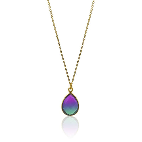 Peacock Aura Drop Necklace - Gold 16 necklace