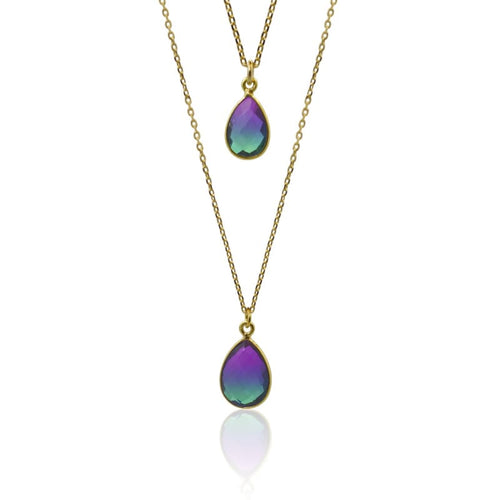 Peacock Aura Drop Necklace - Gold necklace