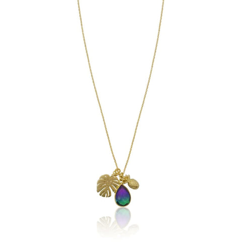 Aura Peacock Palm Leaf Gold Necklace