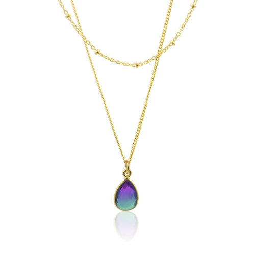 Peacock Aura MINI Drop Double Strand Necklace - Gold 16 necklace