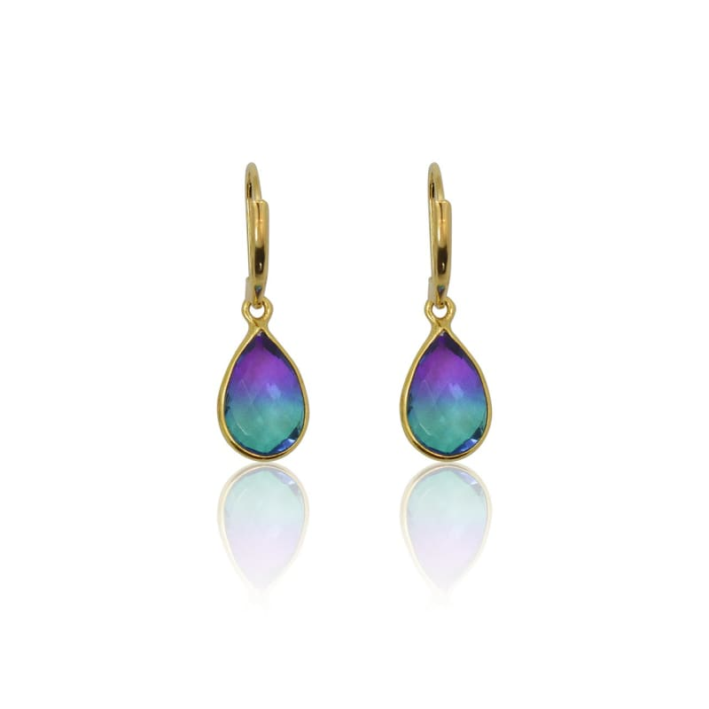 Peacock Aura MINI Drop Earrings - Gold earrings