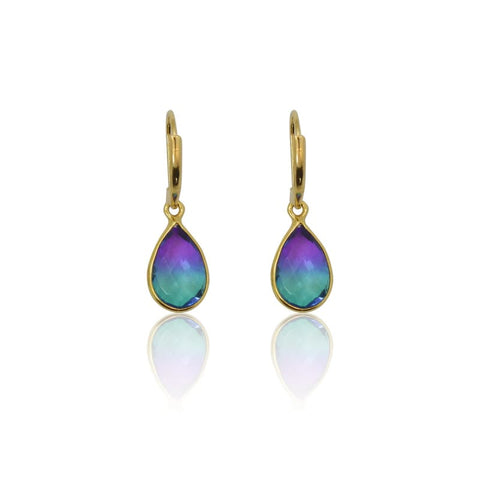 Peacock Aura Drop Earrings - Long Silver