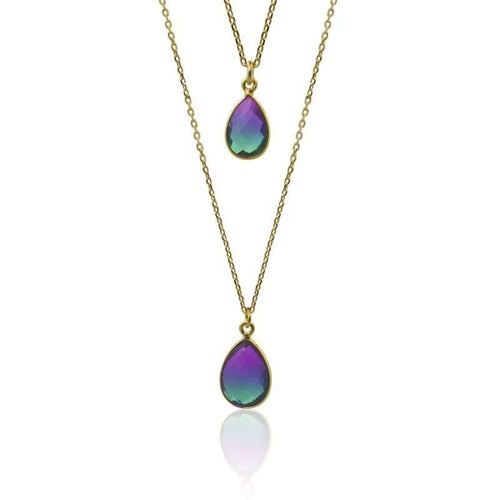 Peacock Aura Oval MINI Drop Necklace necklace