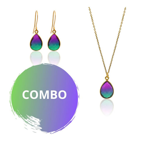 Peacock Aura Oval Drop Necklace & MINI Earring Set 16 Set