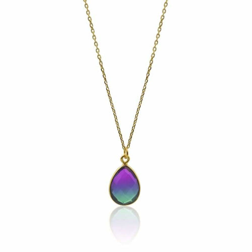 Peacock Aura Oval Drop Necklace & MINI Earring Set Set