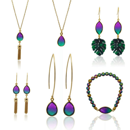 Peacock Aura Oval Drop Tassel Earrings earrings