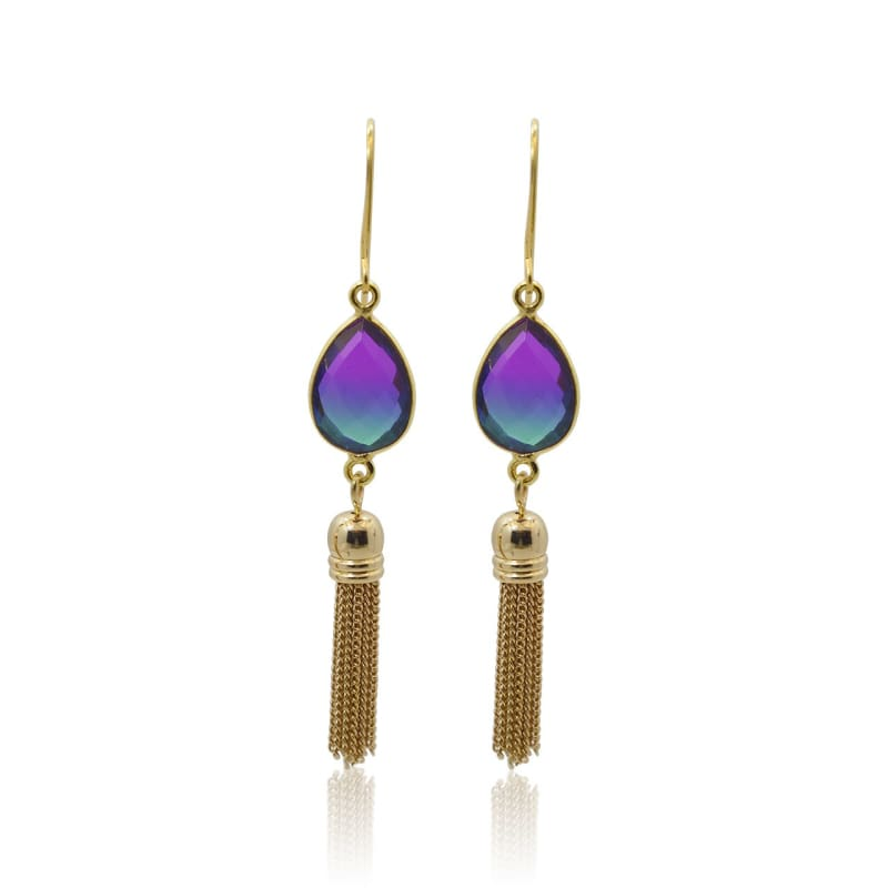 Peacock Aura Oval Drop Tassel Earrings
