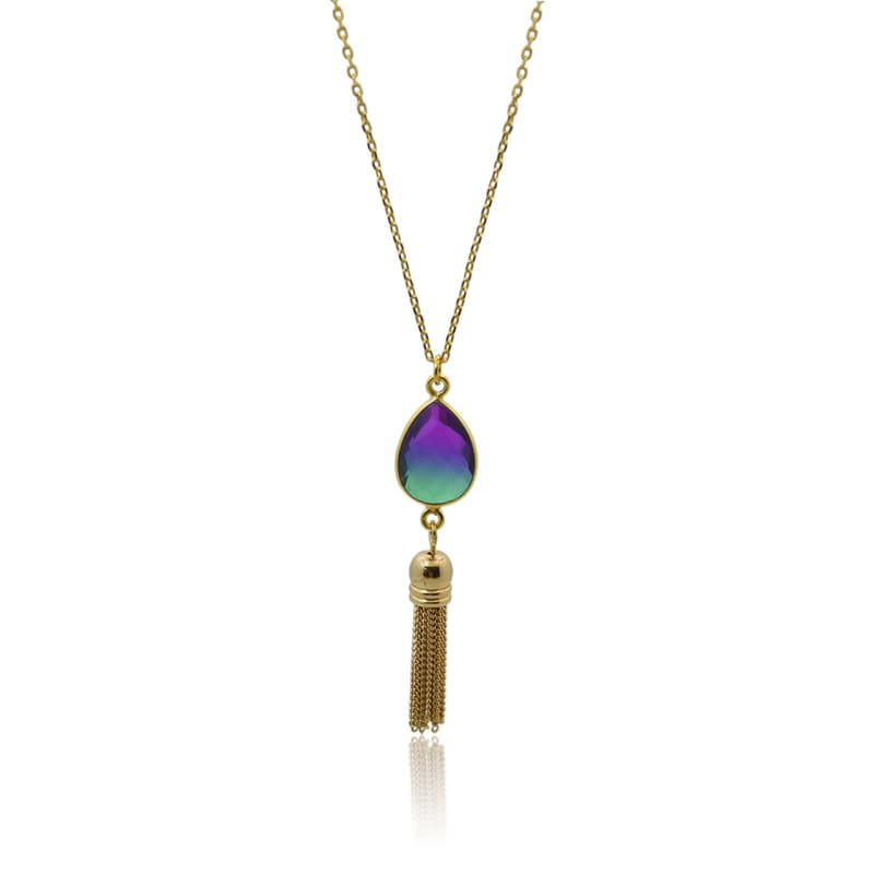Peacock Aura Oval Drop Tassel Necklace 16