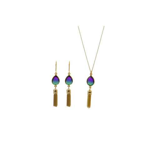 Peacock Aura Oval Drop Tassel Necklace necklace
