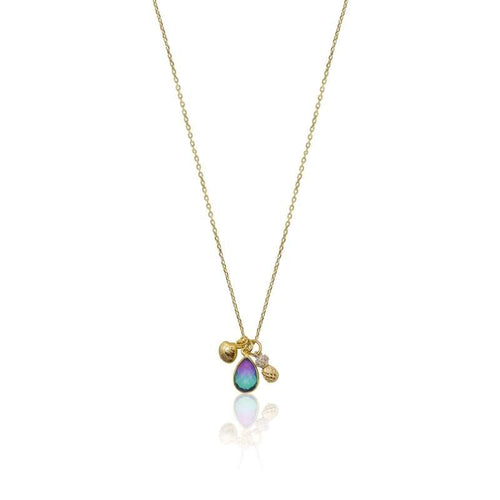 Peacock Aura Pineapple Clam Shell Necklace - Gold necklace
