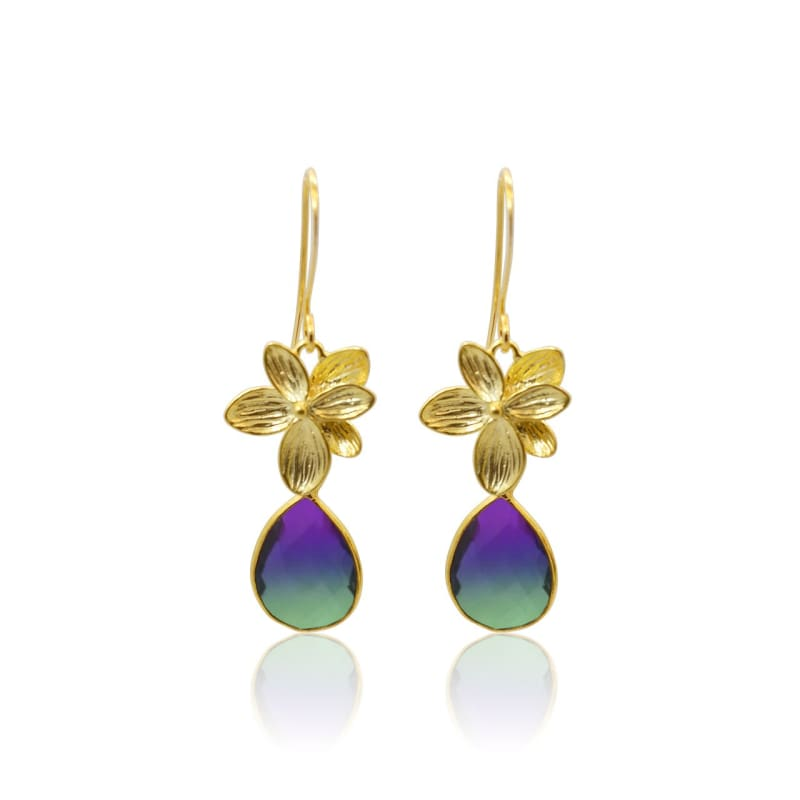 Peacock Aura Single Bloom Plumeria Gold Earrings earrings