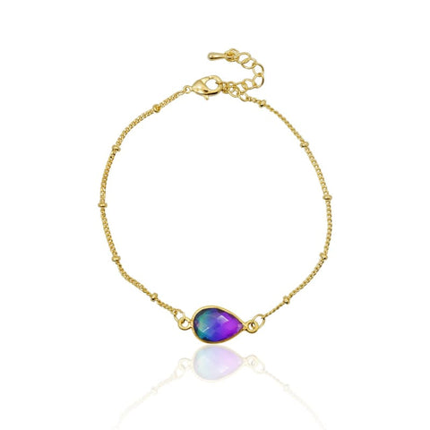 Peacock Aura Crystal Shell Starfish Necklace - Gold