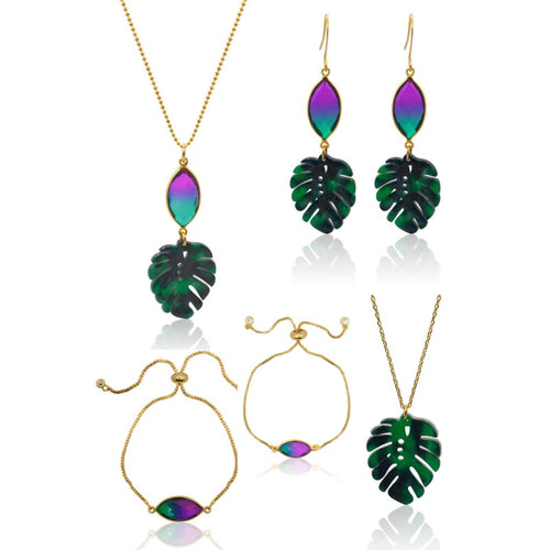 Peacock Aura Tropical Leaf Earrings earrings