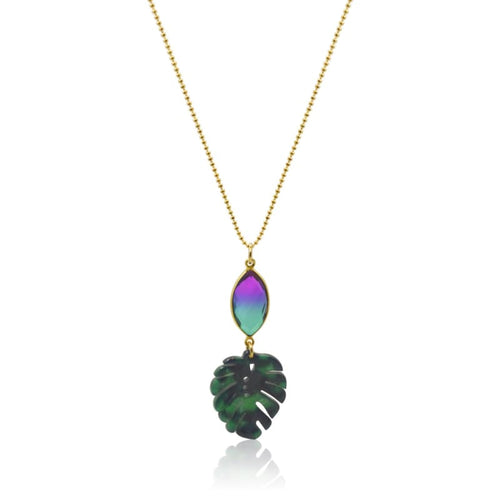 Peacock Aura Tropical Leaf Necklace 30 necklace