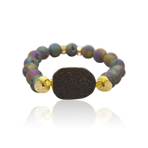 Peacock Druzy Purple Gold Plated Stretch Bracelet bracelet