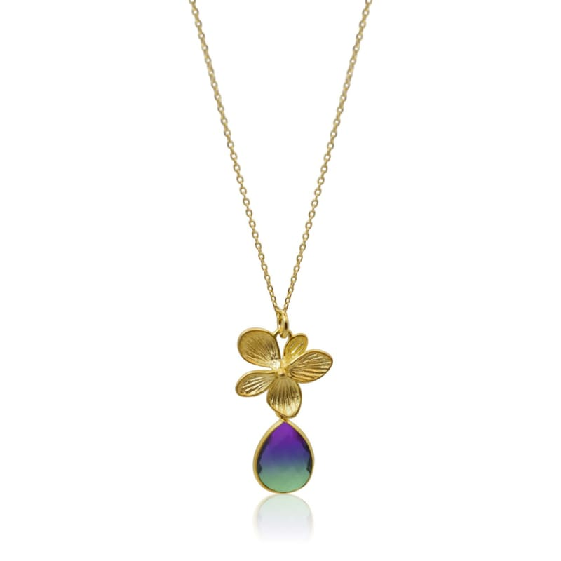 Peacok Aura Single Bloom Plumeria Gold Necklace necklace