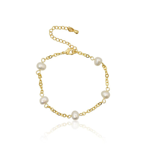 Crystal Leaf  Adjustable Bracelet - Gold