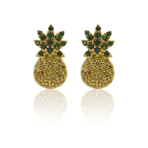 Pineapple Crystal Gold Studs earrings