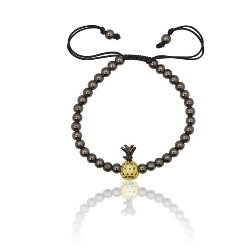 Pineapple Pyrite Macrame Adjustable Bracelet bracelet