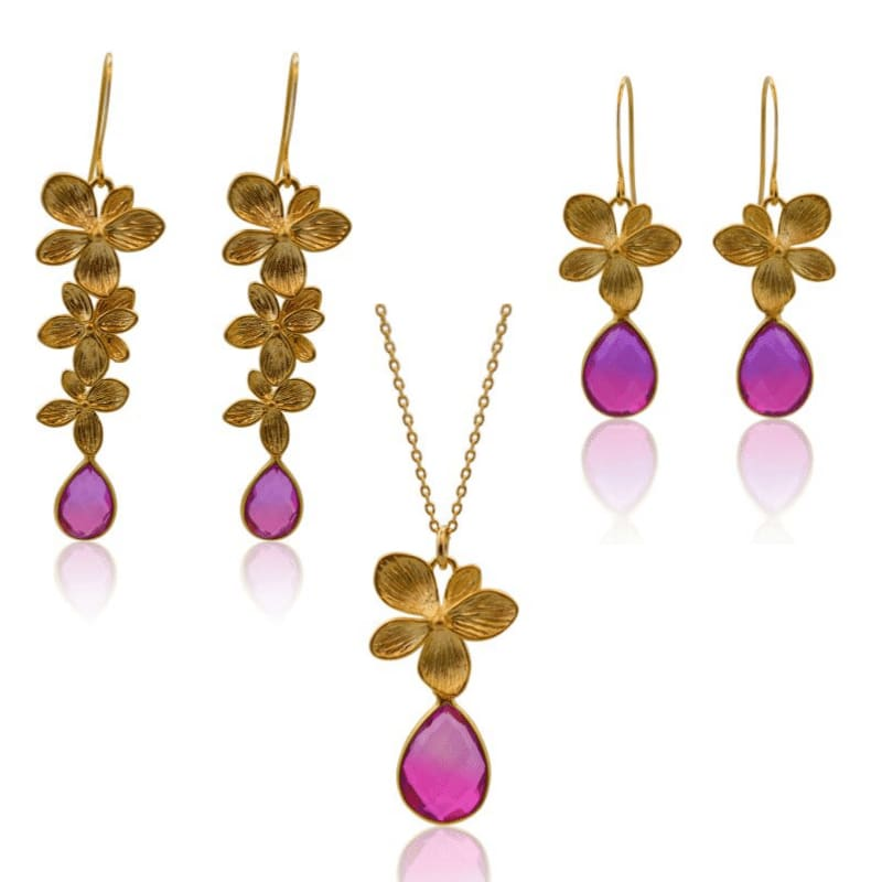 Pink Aura 3 Bloom Plumeria Gold Earrings earrings