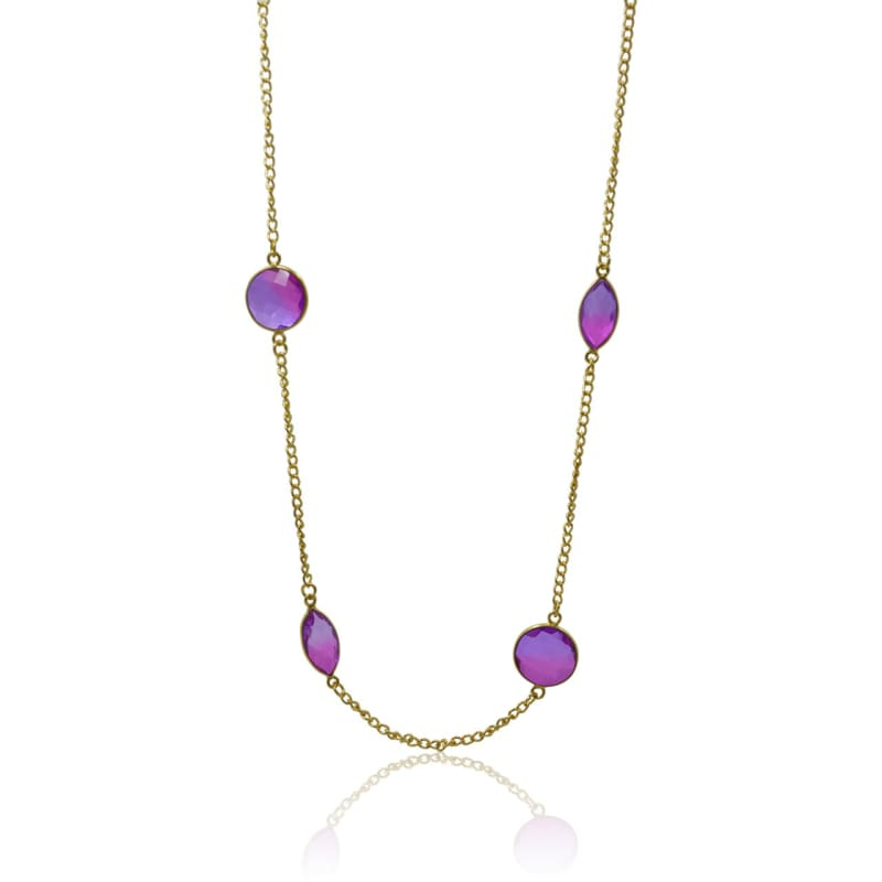 Pink Aura Bezel Chain Necklace - Gold 30 necklace