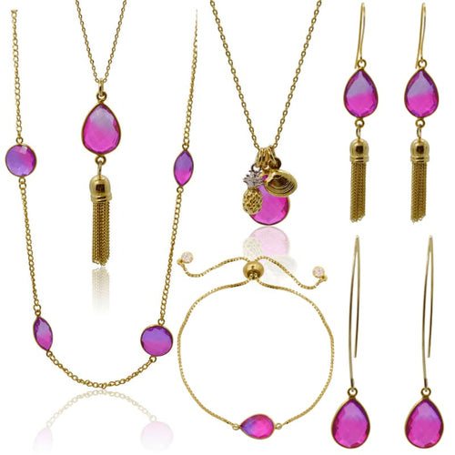 Pink Aura Bezel Chain Necklace - Gold necklace