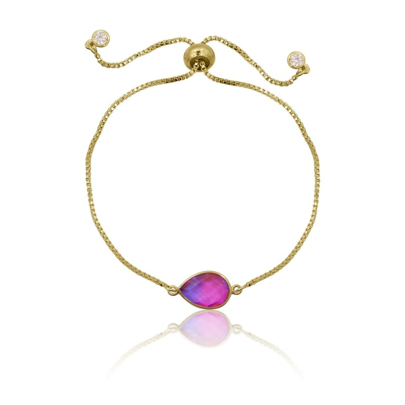 Pink Aura Drop Adjustable Bracelet - Gold bracelet