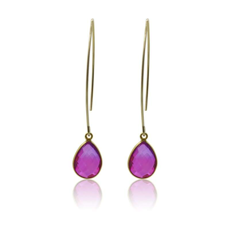 Pink Aura Oval Drop Earrings - Long earrings