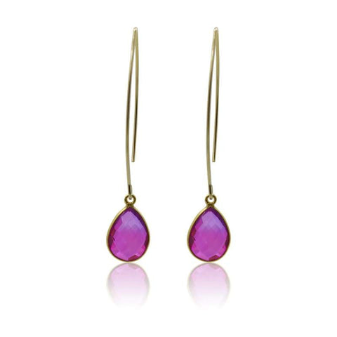 Pink Aura Tassel Oval Drop Earrings - Silver