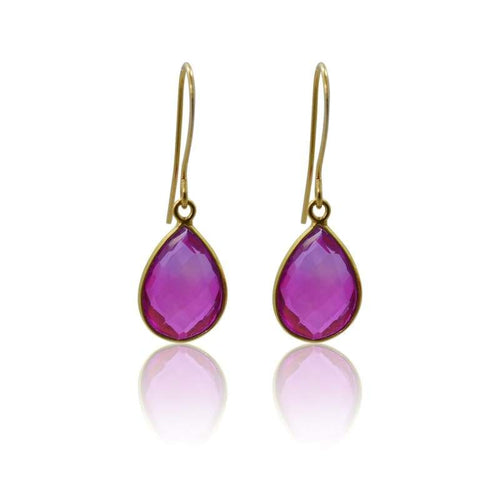 Pink Aura Oval Drop Earrings - Short earrings