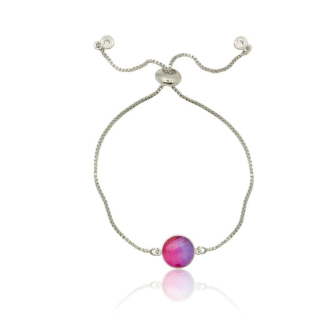 Pink Aura Drop Earrings - Short Silver