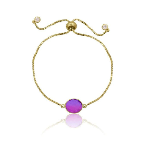 Pink Aura Oval Drop Adjustable Bracelet - Gold bracelet