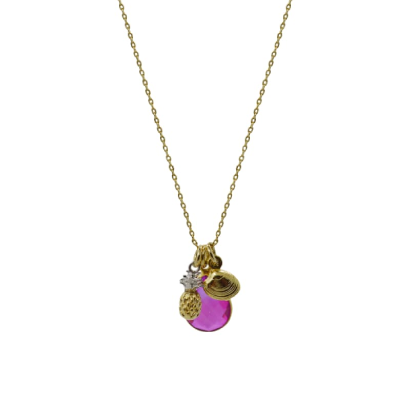 Pink Aura Pineapple & Shell Necklace - Gold 16 necklace