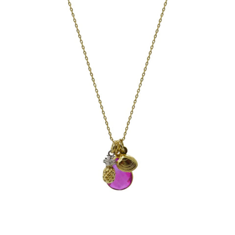 Tropical Aura Single Bloom Plumeria Gold Necklace