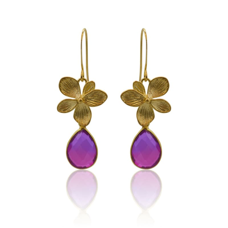 Pink Aura Single Bloom Plumeria Gold Earrings earrings