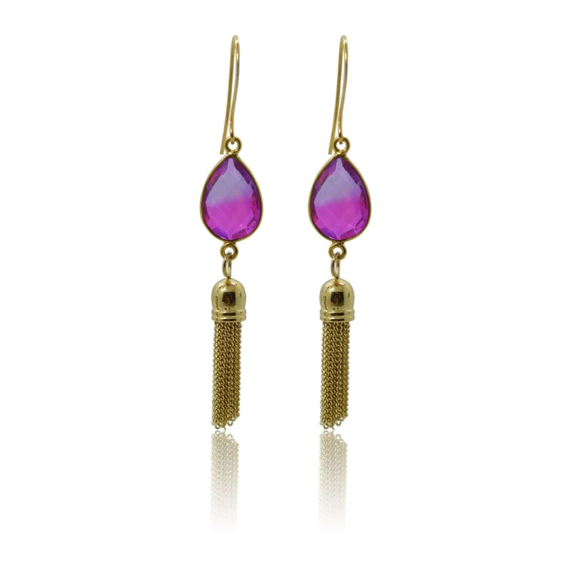 Pink Aura Tassel Oval Drop Earrings - Gold earrings