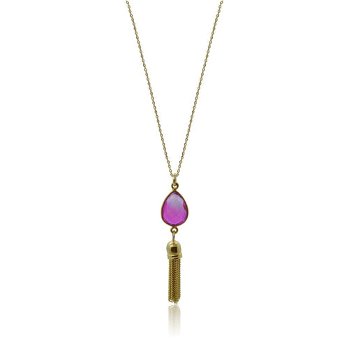 Pink Aura Tassel Oval Drop Necklace - Gold 16 necklace
