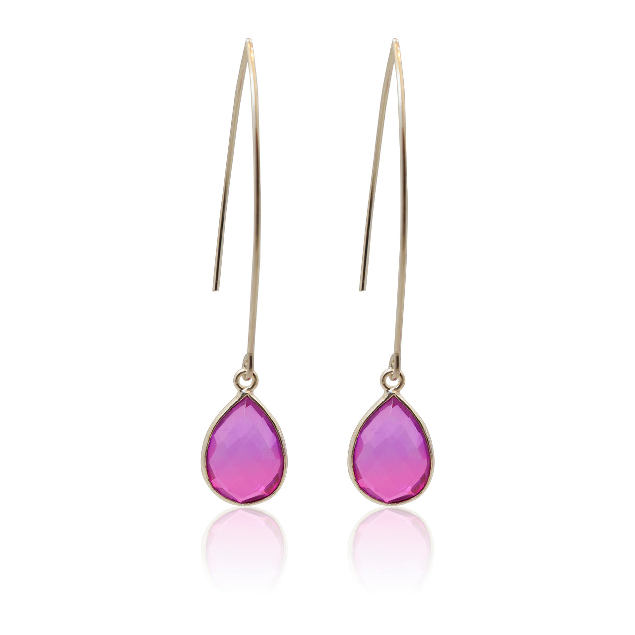 Pink Aura Drop Earrings - Long