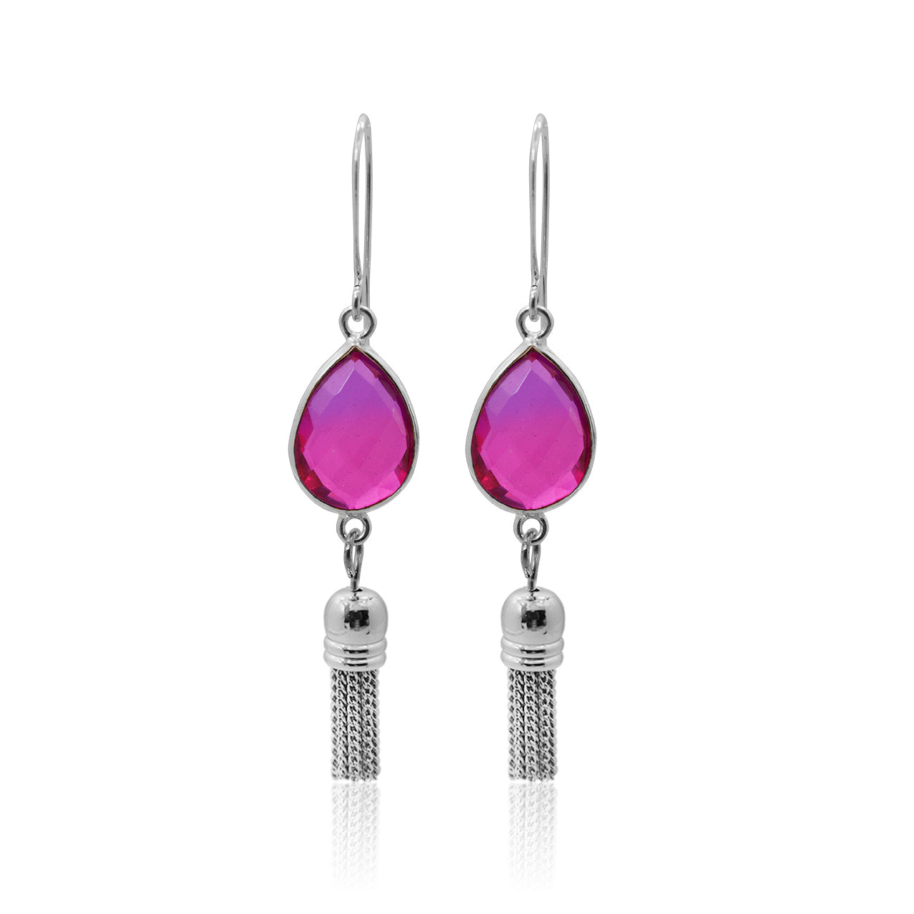 Pink Aura Tassel Oval Drop Earrings