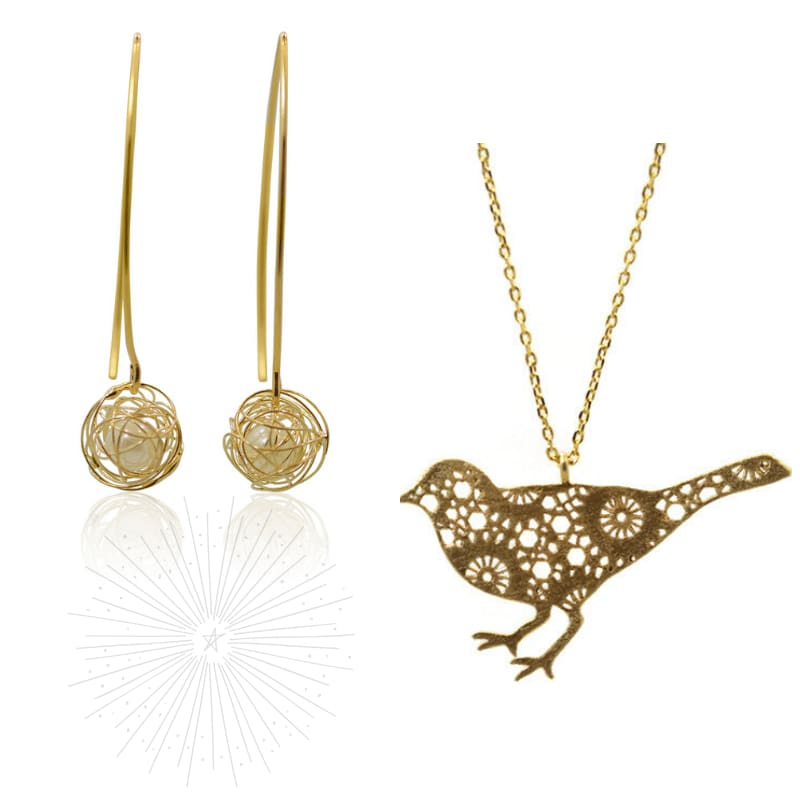 Pretty Bird Combo - Gold necklace