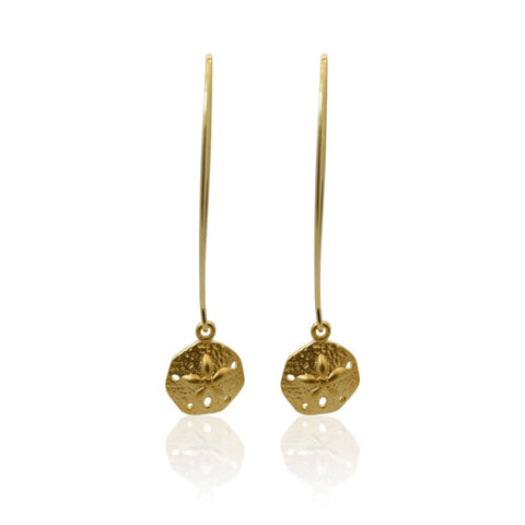 Peacock Aura Drop Earrings - Long Gold