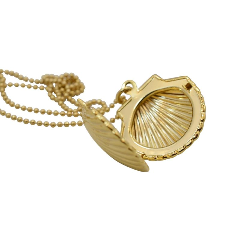 Shell Locket Long Gold Necklace necklace