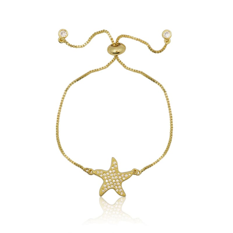 Starfish Crystal Adjustable Bracelet - Gold bracelet