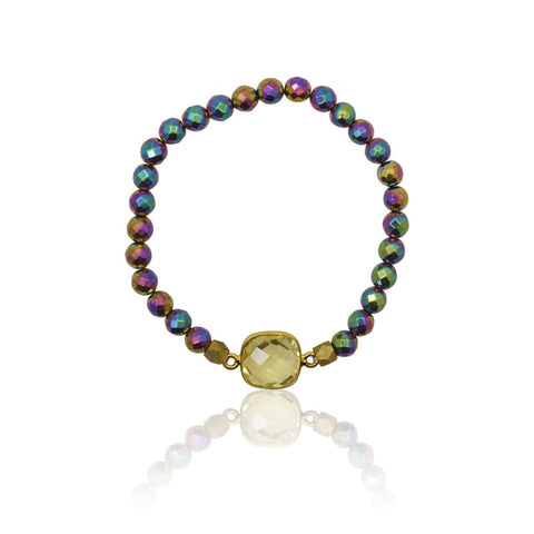 Tropical Aura Round Gold Adjustable Bracelet