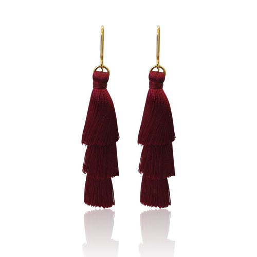 Tassel Earrings - Burgundy Earrings