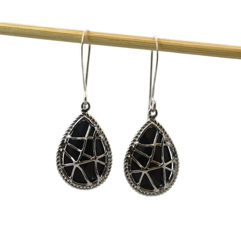 Gunmetal Disc Earrings