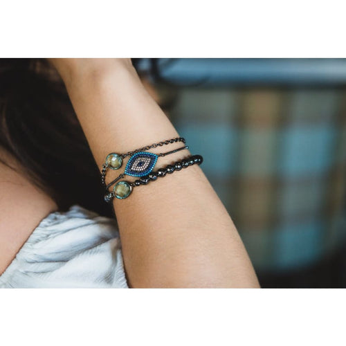 Third Eye - Aqua Gunmetal Adjustable Bracelet Bracelet