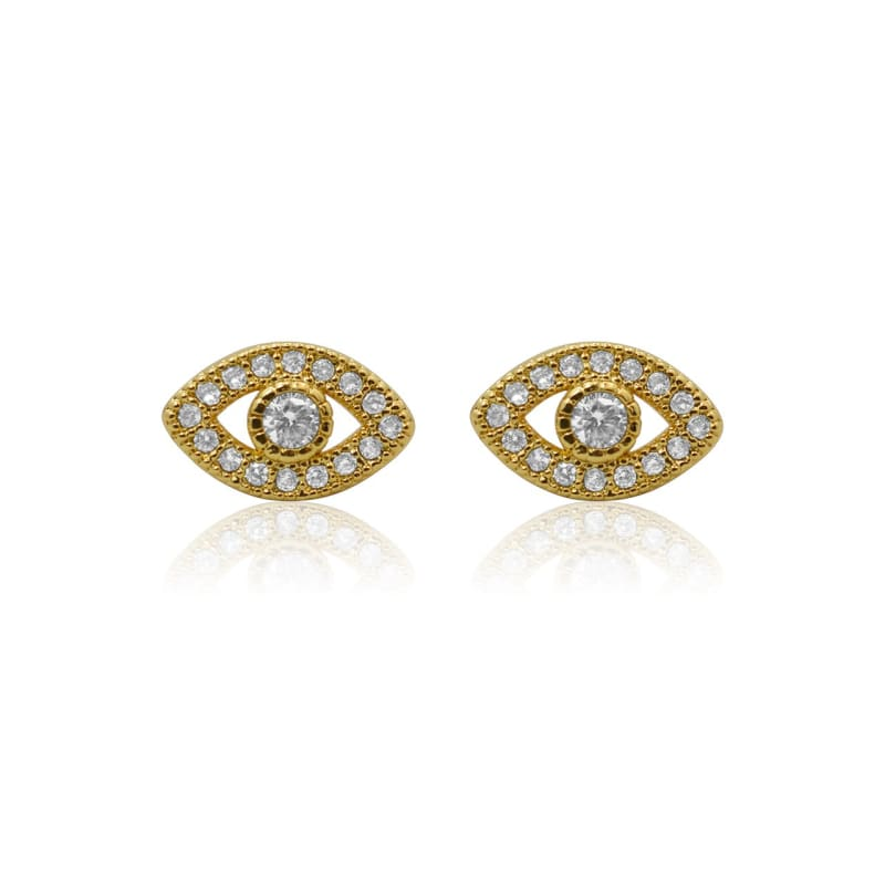 Third Eye Crystal Studs - Gold earrings