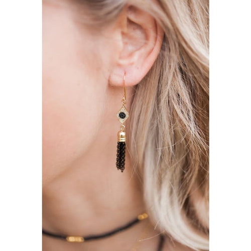 Third Eye - Gold Crystal Tassel Earrings Earrings