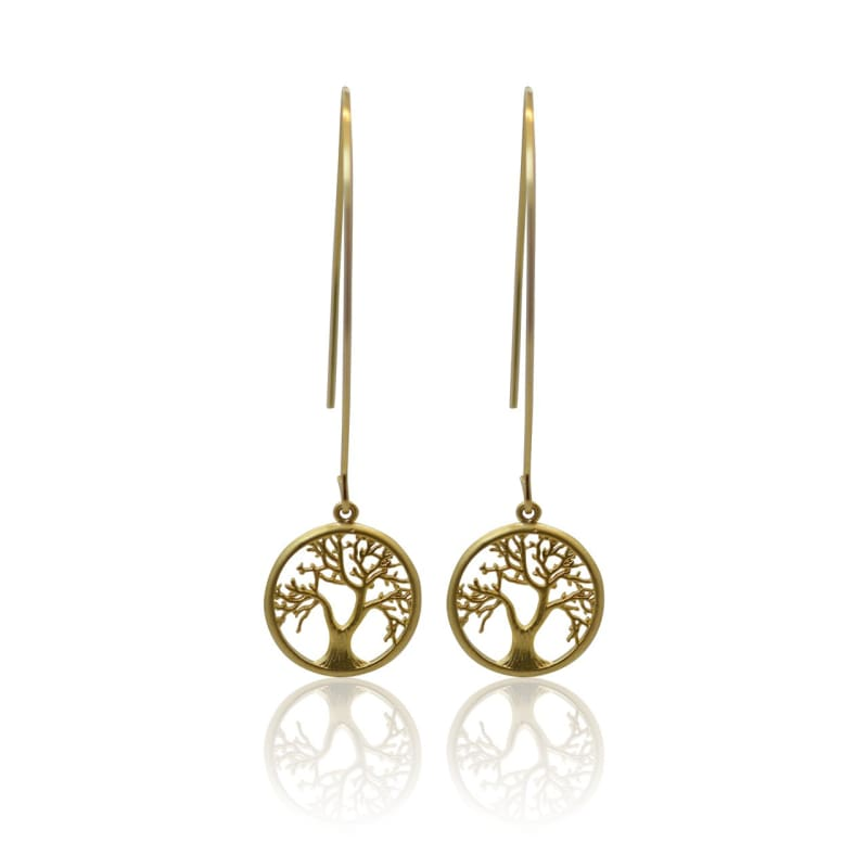 Tree Of Life - Long Gold Earrings Earrings